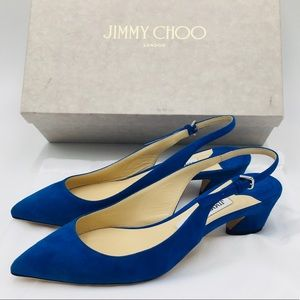 JIMMY CHOO GEMMA 40 Electric Blue Suede Sandals